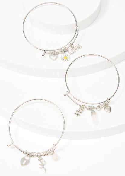 3-pack silver daisy rose crystal heart bracelet set - Main Image