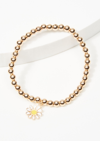 gold daisy charm stretch bracelet - Main Image
