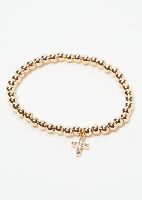 PAVE CROSS MET BEAD STRET placeholder image