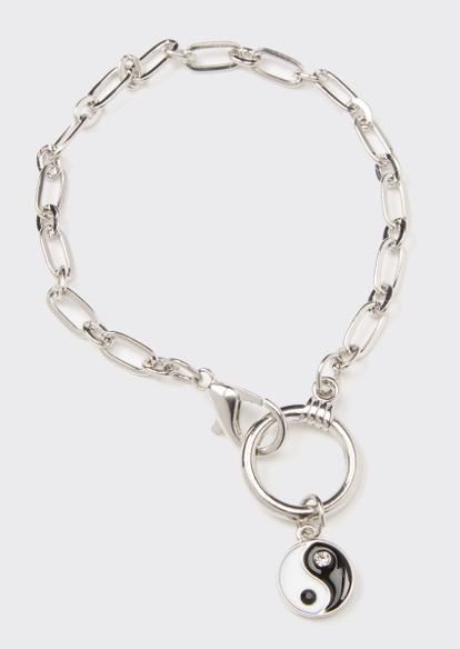 silver yin yang charm bracelet - Main Image