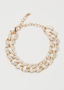 gold rhinestone curb chain bracelet - Main Image