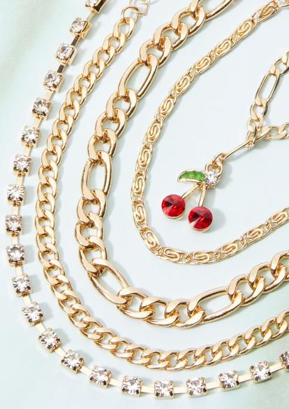 5-pack gold chunky rhinestone chain cherry charm bracelet set - Main Image