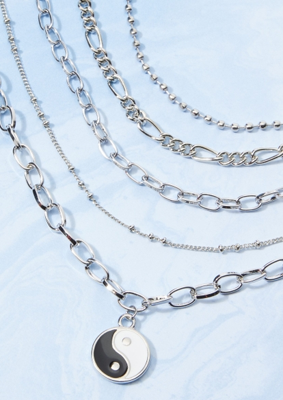 5-pack silver chain yin yang charm necklace set - Main Image