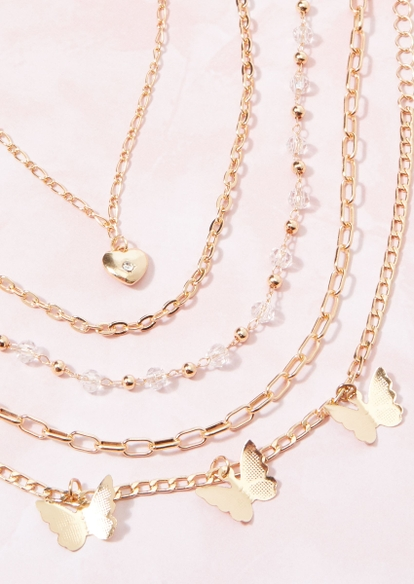 5-pack gold butterfly chain bracelet set - Main Image