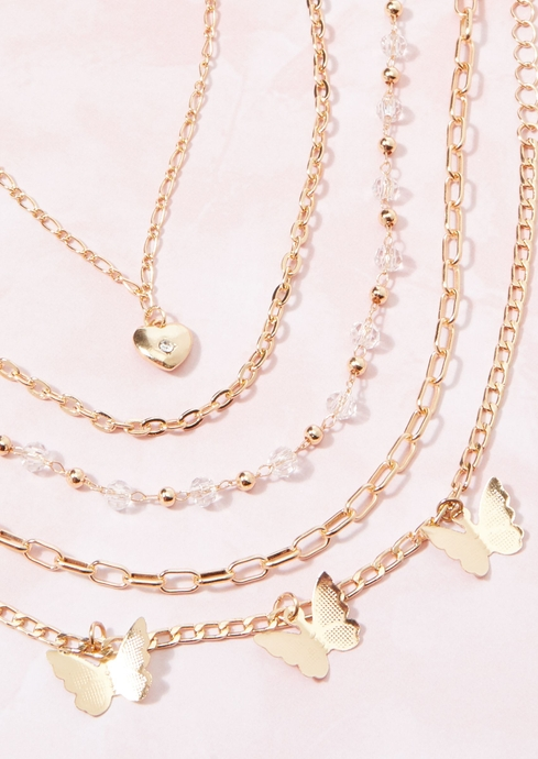 MET BFLY BEAD HEART CHAIN placeholder image