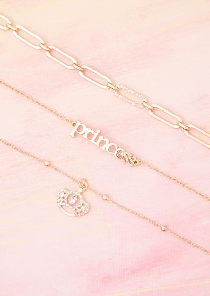 3-pack gold princess crown necklace set - Main Image