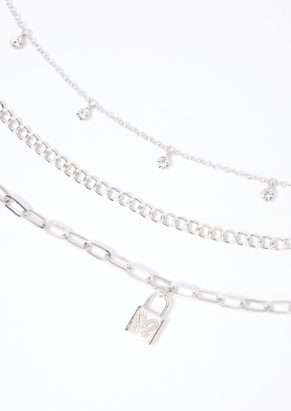 3-pack silver rhinestone butterfly necklace set - Main Image