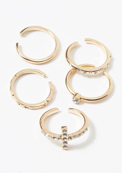 5-pack gold rhinestone cross toe ring set - Main Image