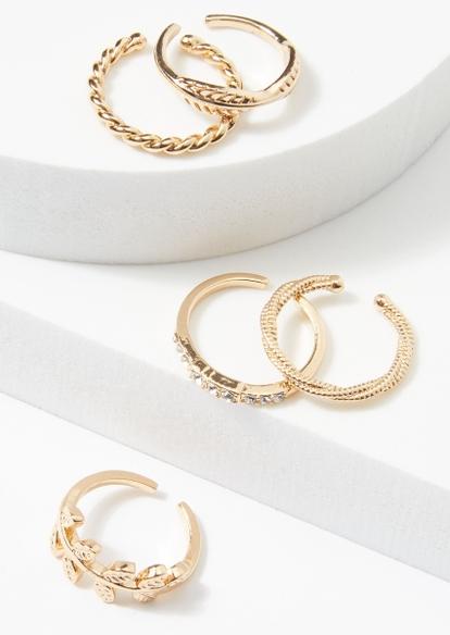5-pack gold leaf twist toe ring set - Main Image
