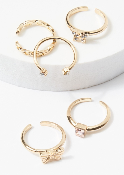 5-pack gold rhinestone butterfly toe ring set - Main Image
