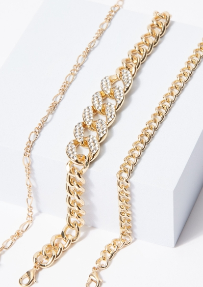 3-pack gold rhinestone chain link anklet set - Main Image
