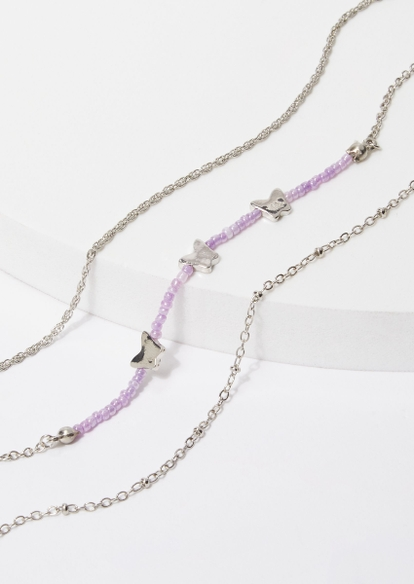 3-pack purple bead silver butterfly anklet set - Main Image