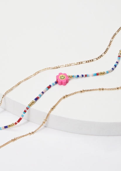 3-pack smiley face daisy bead gold anklet set - Main Image