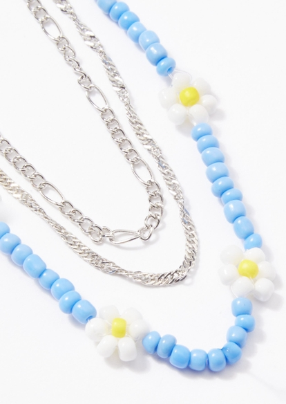 3-pack silver daisy bead necklace set - Main Image