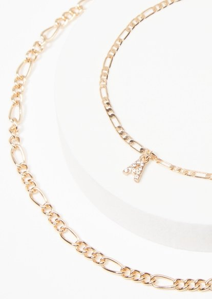 gold a charm figaro chain anklet - Main Image