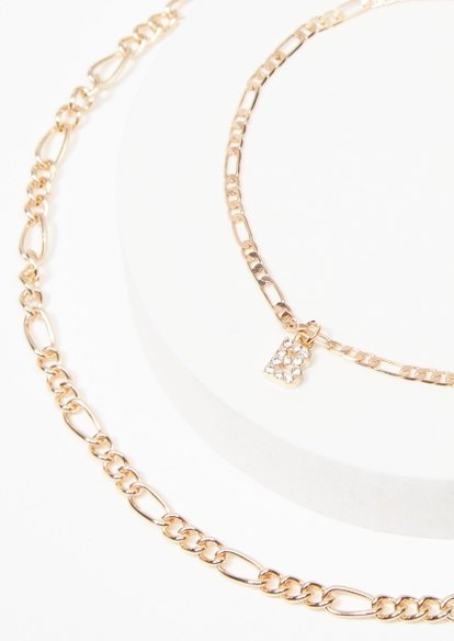 gold b charm figaro chain anklet - Main Image