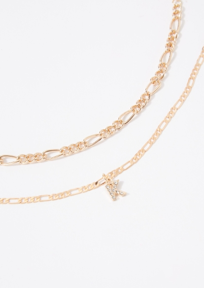 gold k initial figaro chain anklet set - Main Image