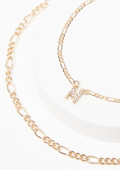 gold m charm figaro chain anklet - Main Image