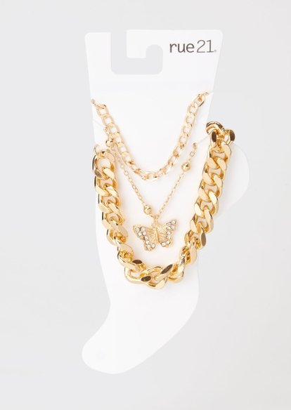 3-pack gold curb chain anklet set - Main Image