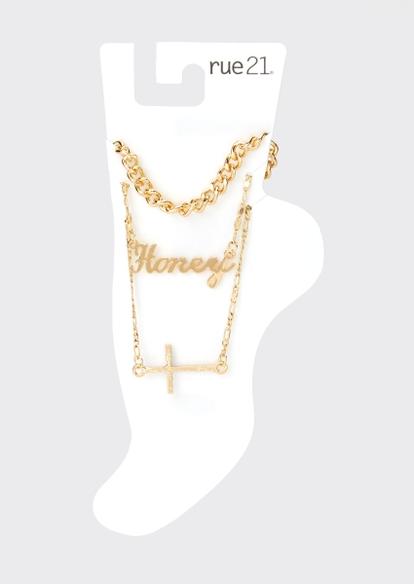 3-pack gold honey anklet set - Main Image