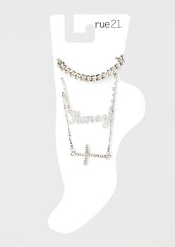 3-pack silver honey anklet set - Main Image