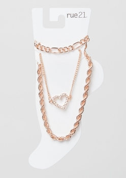 3-pack rose gold rope chain anklet set - Main Image
