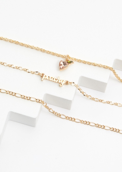 3-pack gold peachy charm anklet set - Main Image
