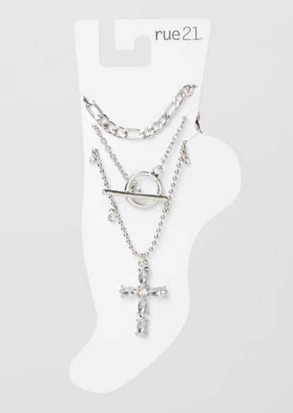 3-pack silver cross anklet set - Main Image