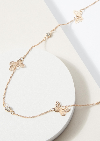 gold rhinestone butterfly charm belly chain - Main Image