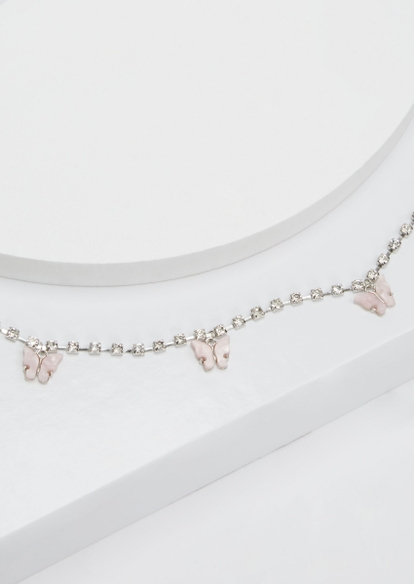 silver rhinestone butterfly belly chain - Main Image