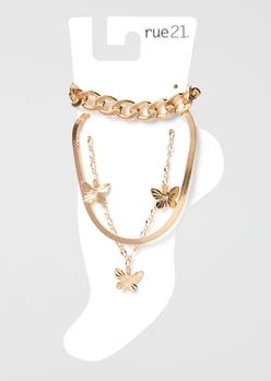 3-pack gold butterfly anklet set - Main Image