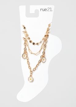 3-pack gold enamel daisy anklet set - Main Image