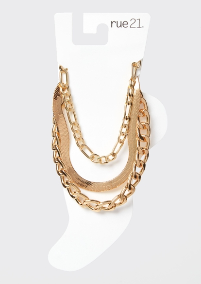3-pack gold mixed chain anklet set - Main Image