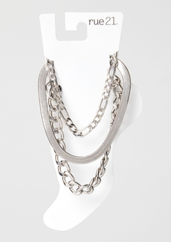 3-pack silver mixed chain anklet set - Main Image