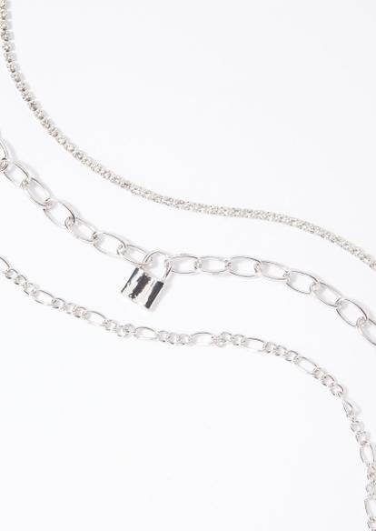 3-pack silver rhinestone lock necklace set - Main Image