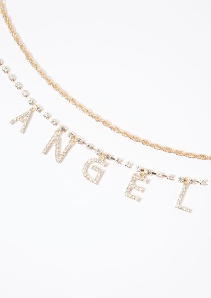 2-pack rhinestone gold angel necklace set - Main Image