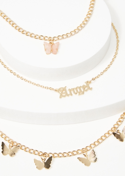 3-pack gold angel butterfly anklet set - Main Image