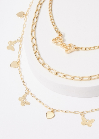 3-pack baby heart butterfly anklet set - Main Image