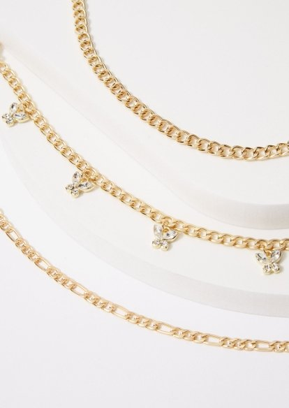 3-pack rhinestone butterfly anklet set - Main Image