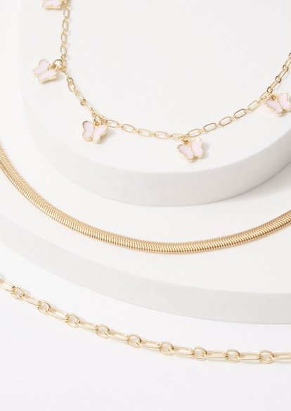 3-pack butterfly charm oval chain anklet set - Main Image