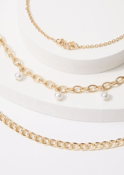 3-pack butterfly pearl anklet set - Main Image