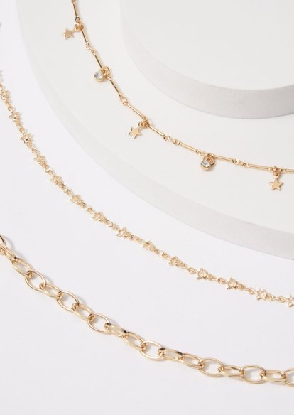 3-pack baby heart butterfly chain anklet set - Main Image