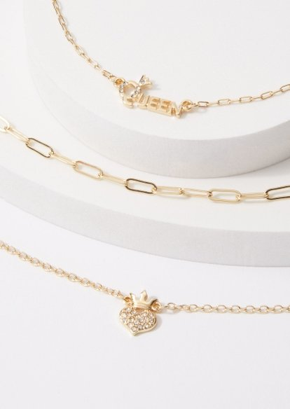 3-pack queen rhinestone heart anklet set - Main Image