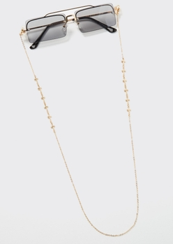 gold cross charm sunglasses and mask chain - Main Image