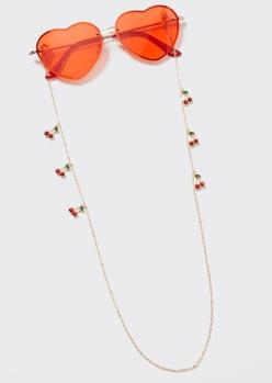 gold cherry charm sunglasses and mask chain - Main Image