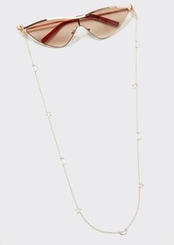 gold celestial cutout sunglasses and mask chain - Main Image