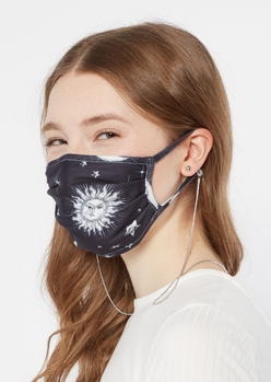 silver herringbone link sunglasses and mask chain - Main Image