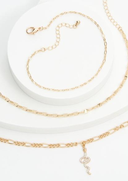 3-pack gold figaro chain snake charm anklet set - Main Image