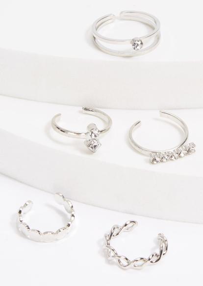 5-pack silver rhinestone twist toe ring set - Main Image