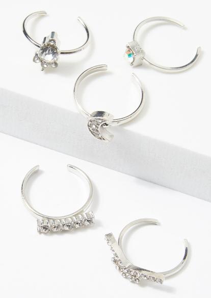 5-pack silver rhinestone moon toe ring set - Main Image